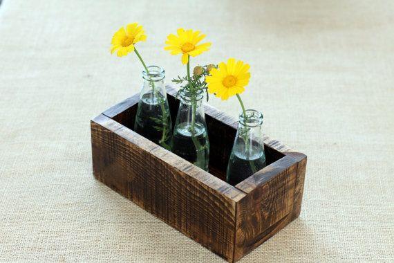 Rectangular Planter, Upcycled Brown Wooden Planter, Housewarming Gift