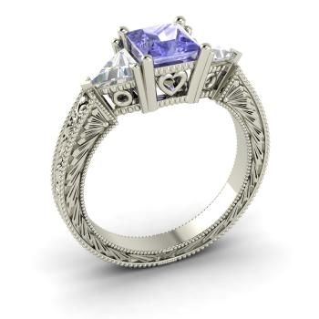 Esperance Ring with Princess cut Tanzanite, VS Diamond | 2.01 carat Square Tanzanite  Sidestone Ring in Platinum | Diamondere