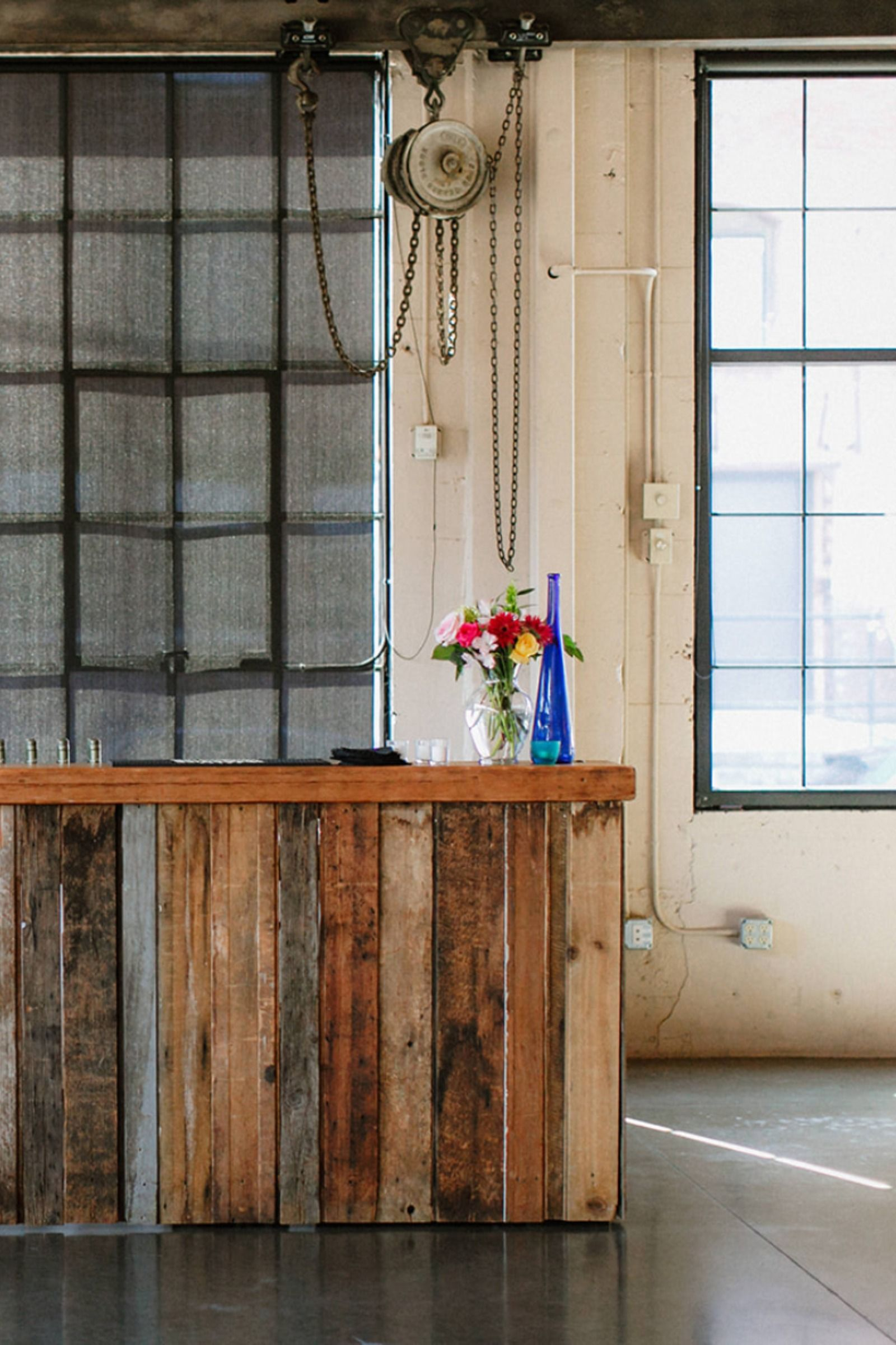 Wood pallet plank bar with weathered rustic detail and