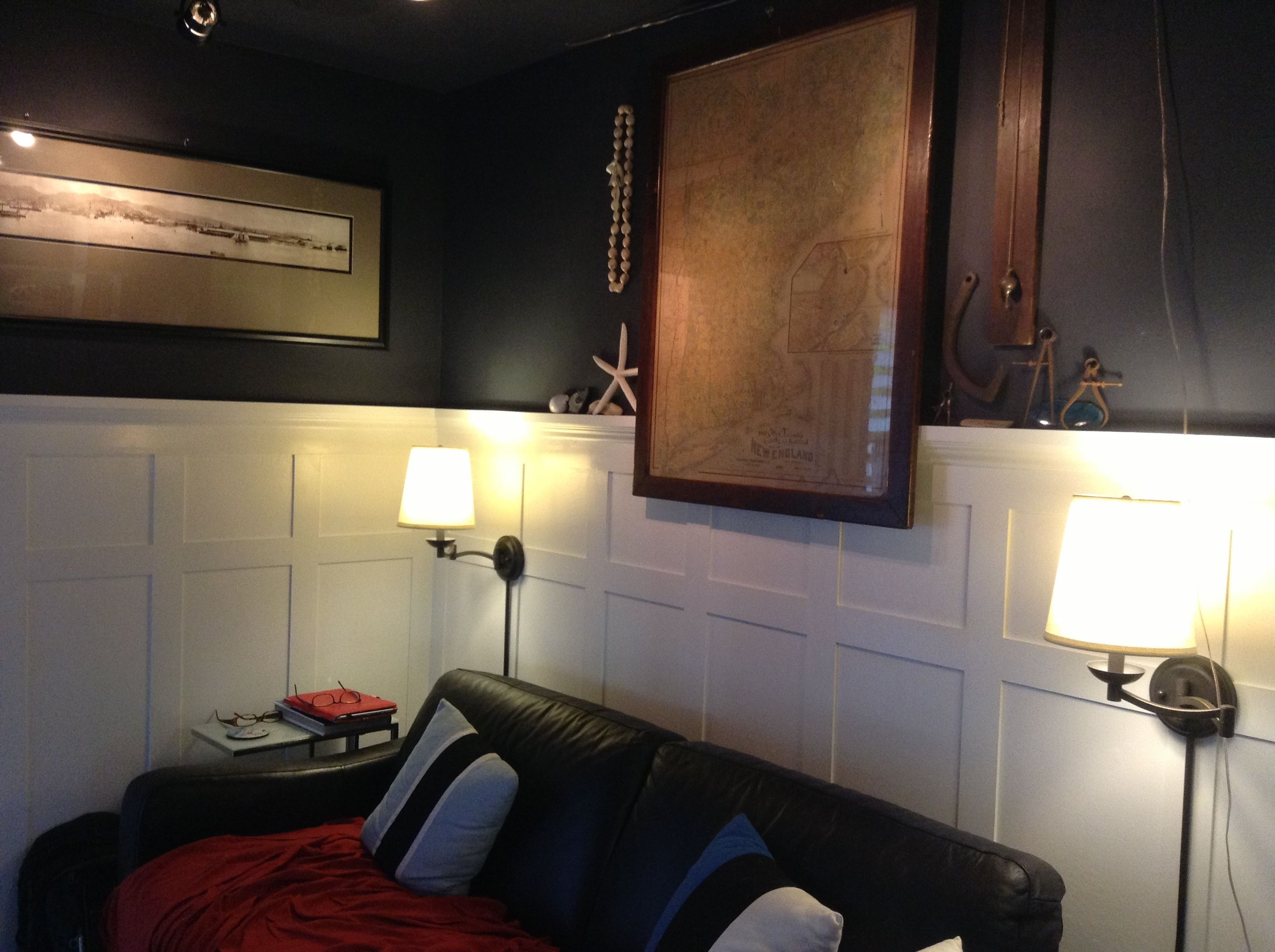 dark walls board and batten wainscoting nautical theme den board and batten wainscoting nautical theme