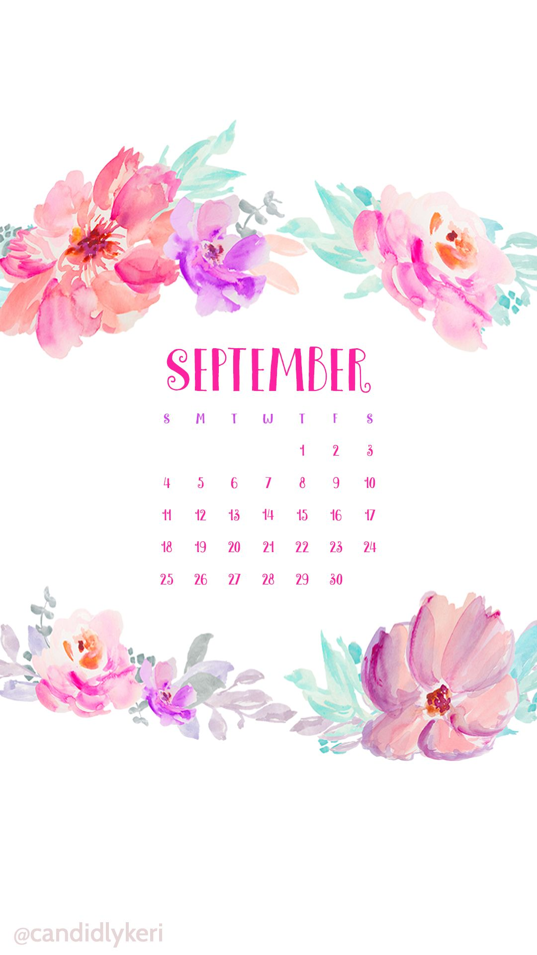 Flower Crown Watercolor September Calendar 2016 Wallpaper You Can