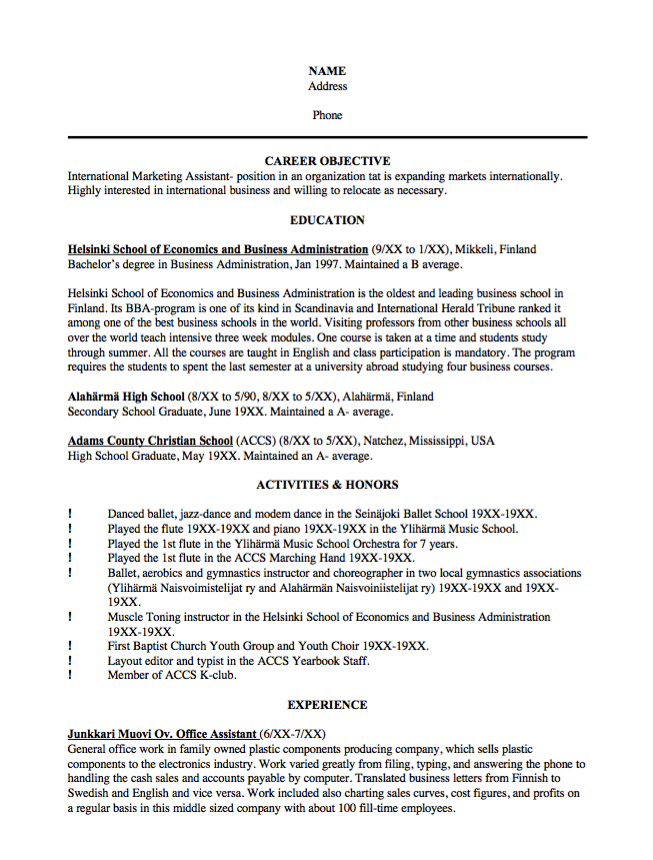 Sample Resume International Marketing Assistant  Http