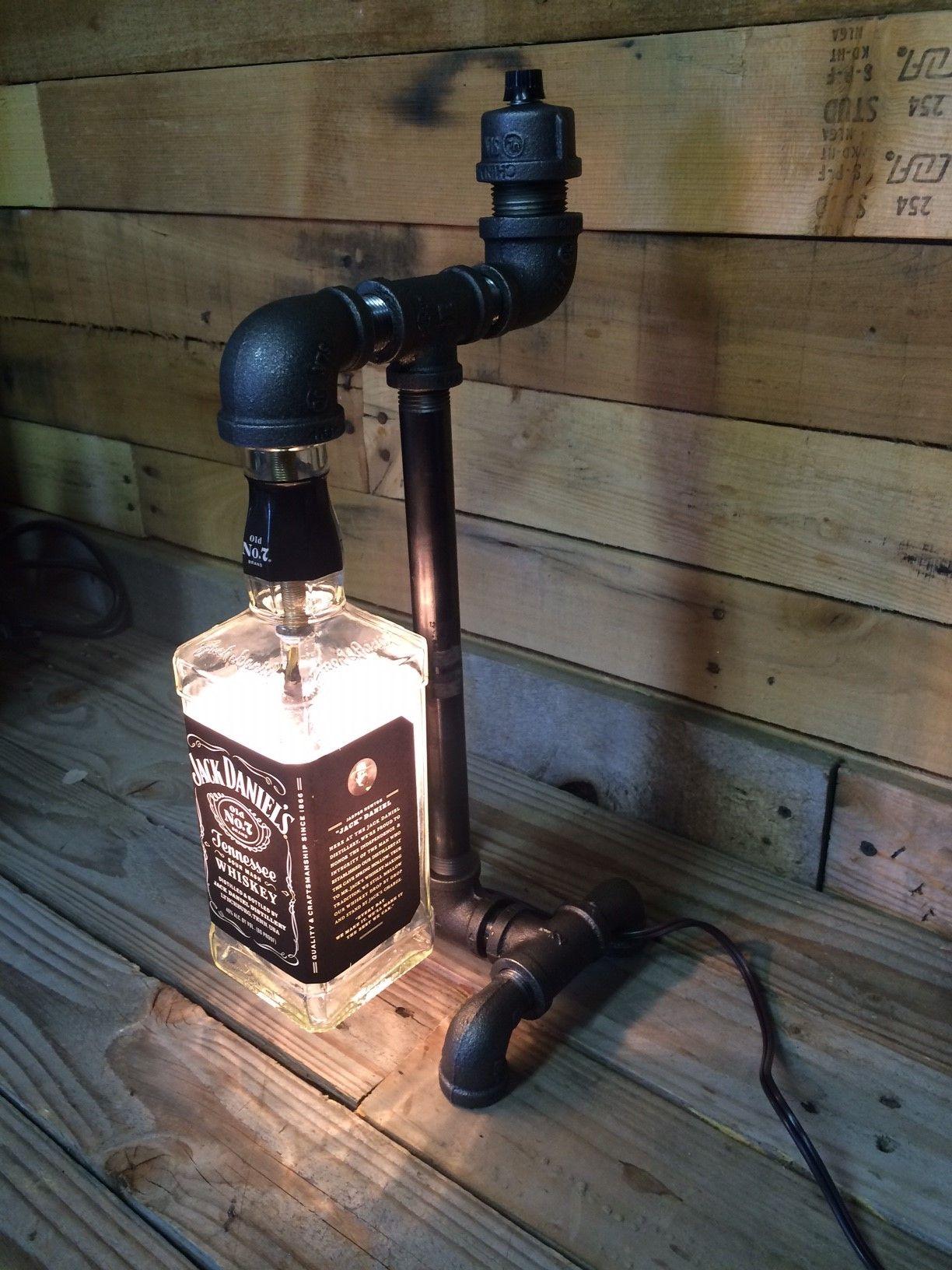 Design of bottle car jack - Jack Daniels Liquor Bottle Black Pipe Lamp 2