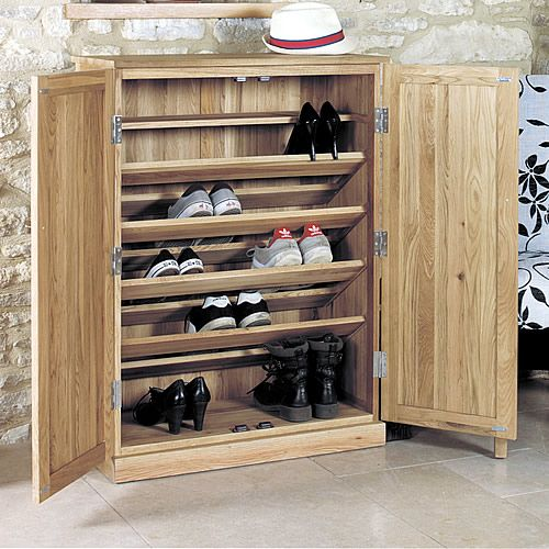 Large Oak Shoe Storage Cupboard Mobel