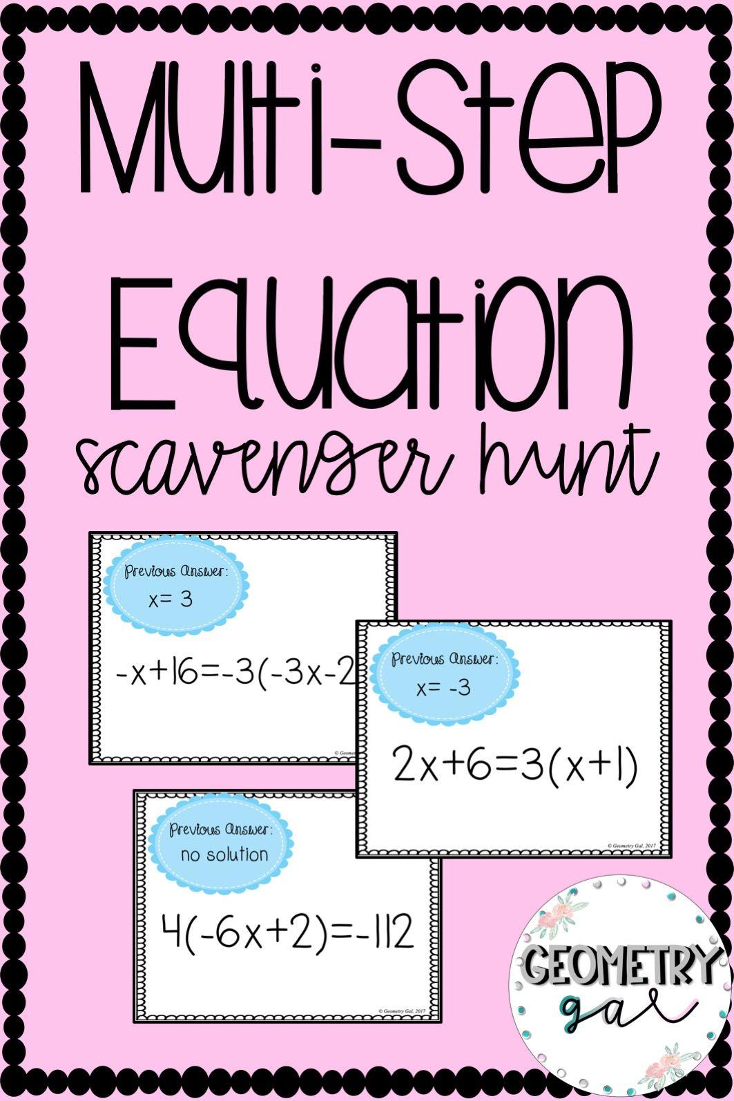 Multi Step Equation Scavenger Hunt