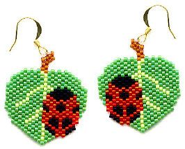 Ladybug On Leaves beaded Earrings | Flickr - Photo Sharing!