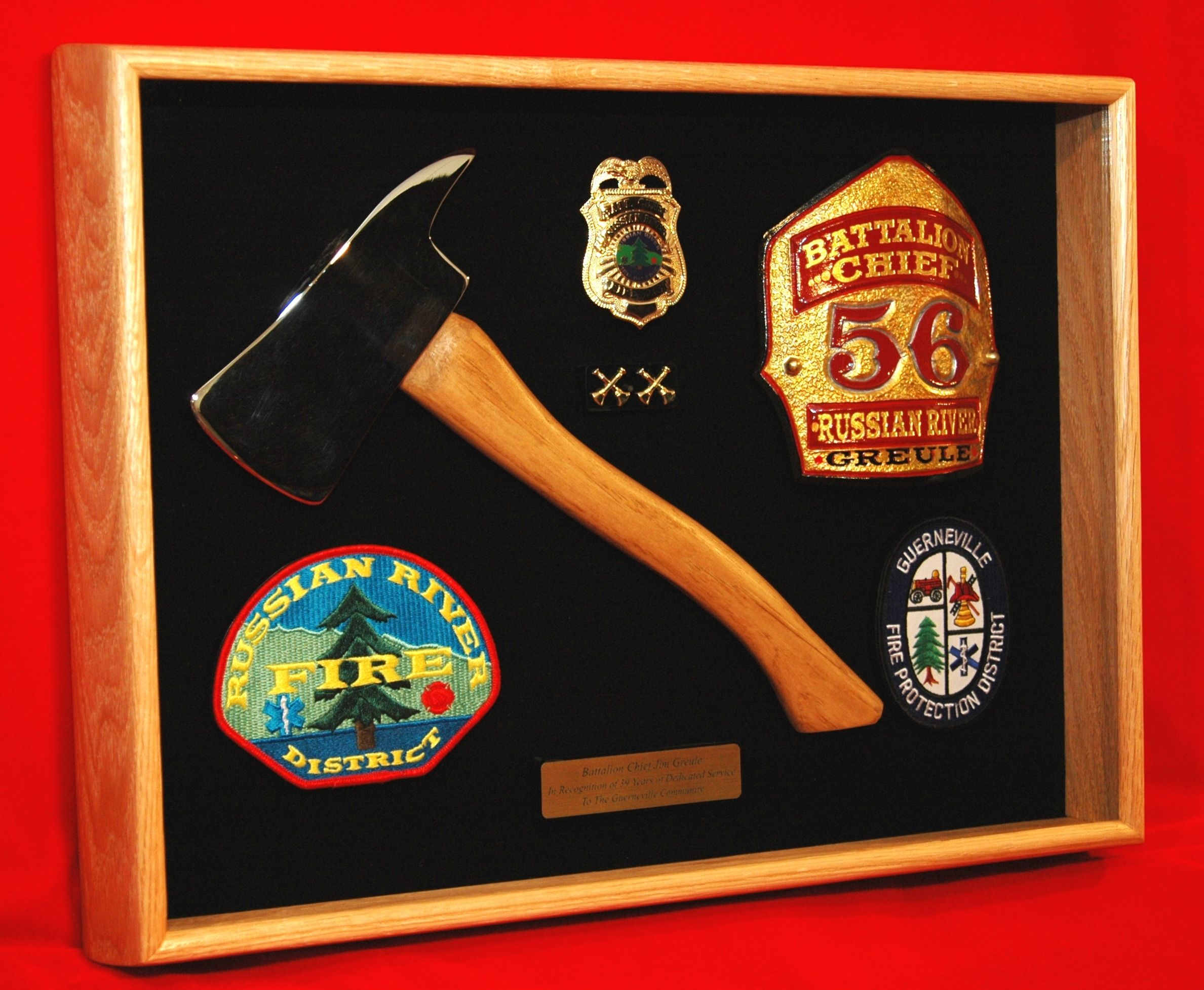 firefighter shadow box family search retirement made by shadowboxusa com this shadow box includes a small axe to represent this