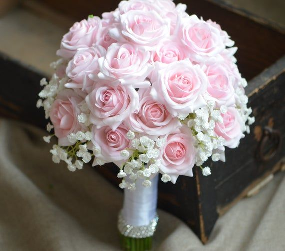 Pink Roses Bouquets Real Touch Pale Pink Roses Bridal Bouquets Silk Wedding Bouquets