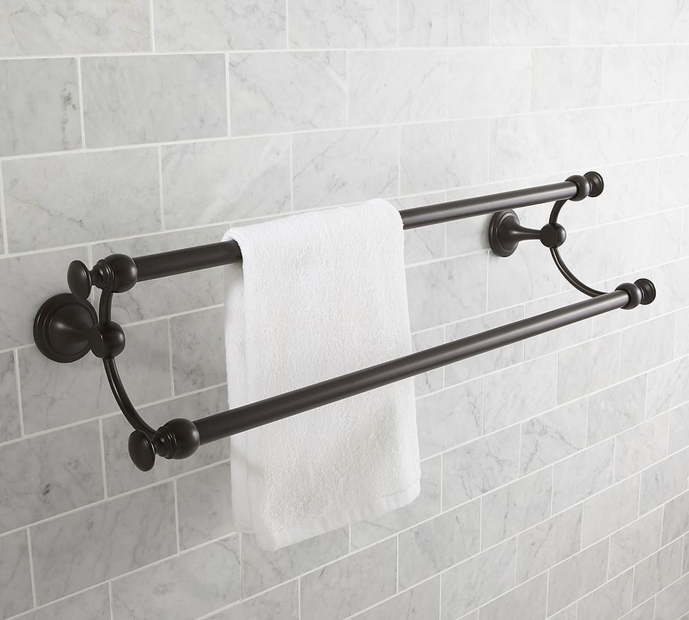 Mercer Double Towel Bar 24 Chrome Finish At Pottery Barn Bath