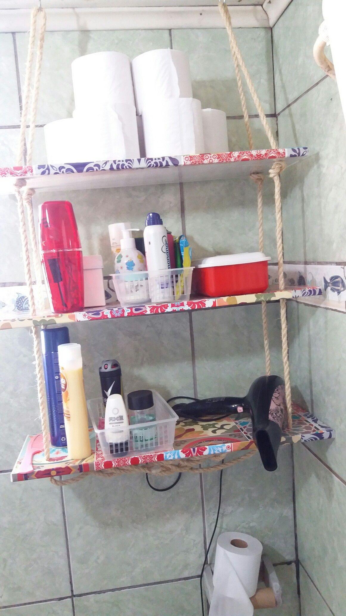 Prateleira Com Corda Reutilizado As Portas Do Arm Rio Da Cozinha