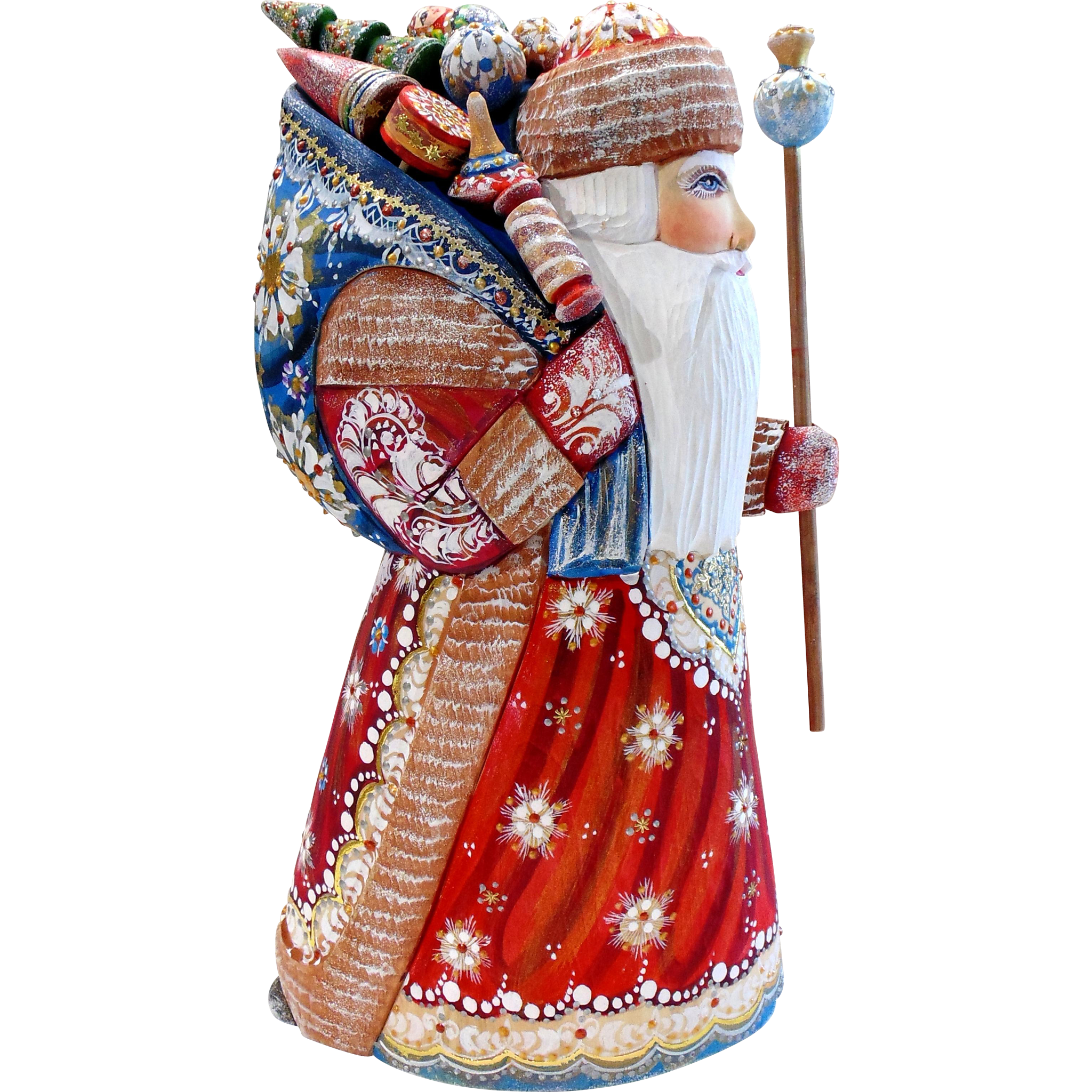Large Russian Santa With Sack Of Toys Staff Hand Carved Painted Vintagebeginshere Christmas Santa Russian Santa Hand Carved Carving