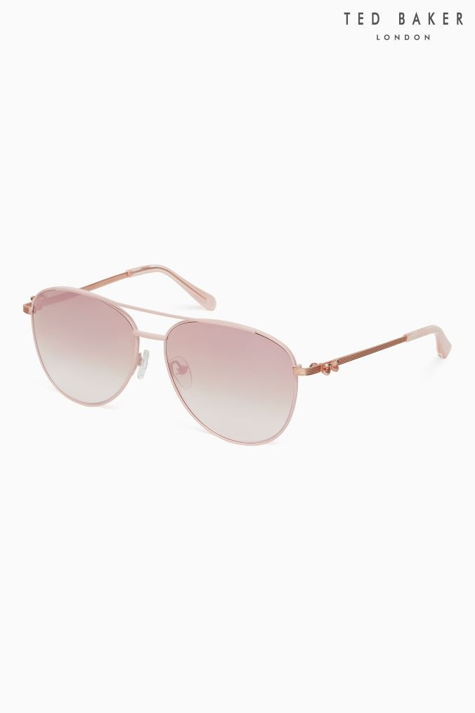 dfa803730a0a1 Womens Ted Baker Rose Gold Bow Detail Arm Mira Aviator Sunglasses - Pink