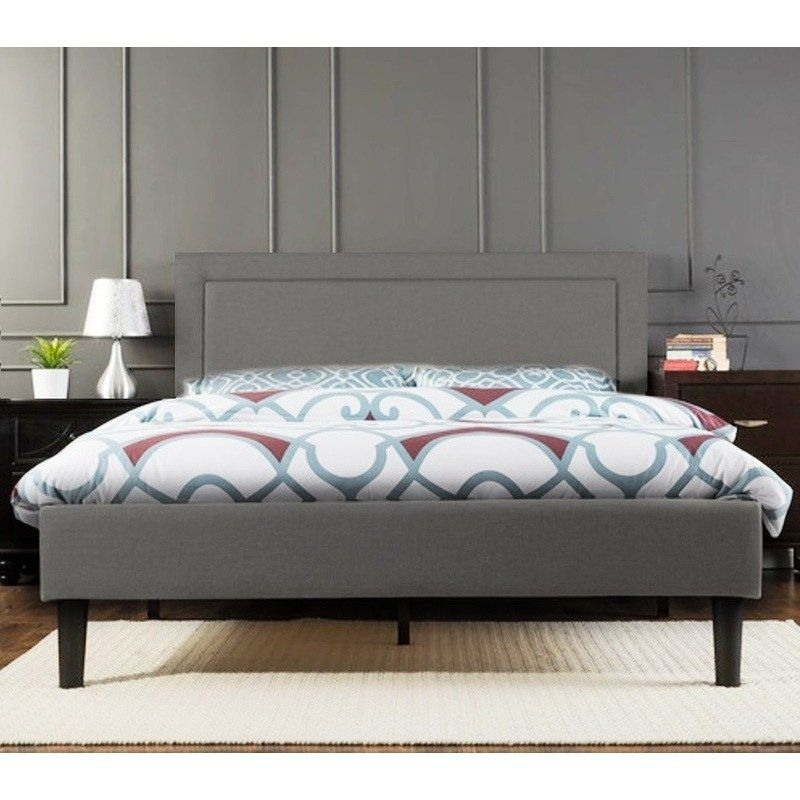 Portsmouth Queen Size Linen Fabric Bed Frame In Grey Fabric Bed