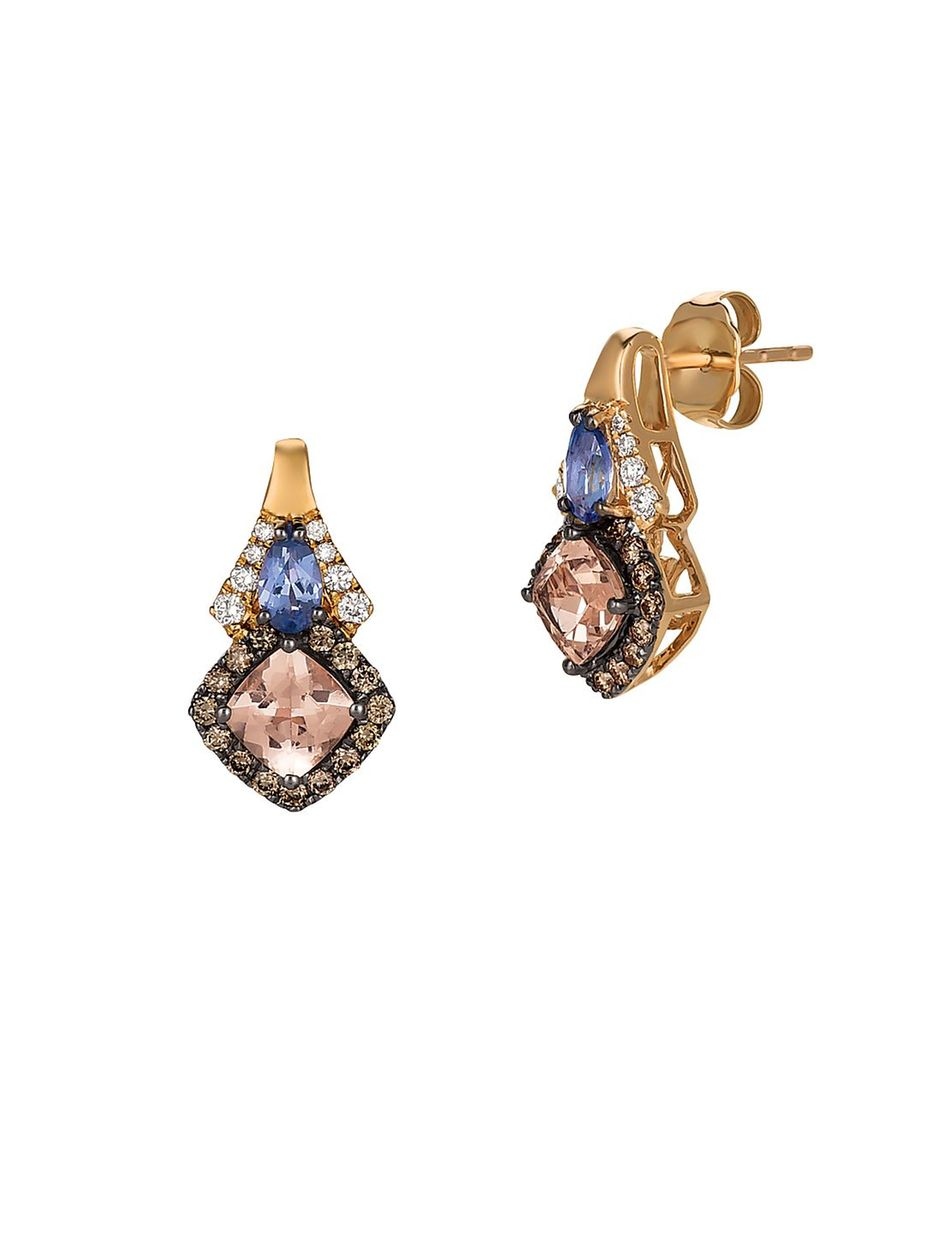 6c92b7fa4e50ad Le Vian Chocolatier Vanilla Diamond, Chocolate Diamond, Peach Morganite,  Blueberry Tanzanite and 14K Strawberry Gold Earrings, #LeVian, #Chocolate, # Peach