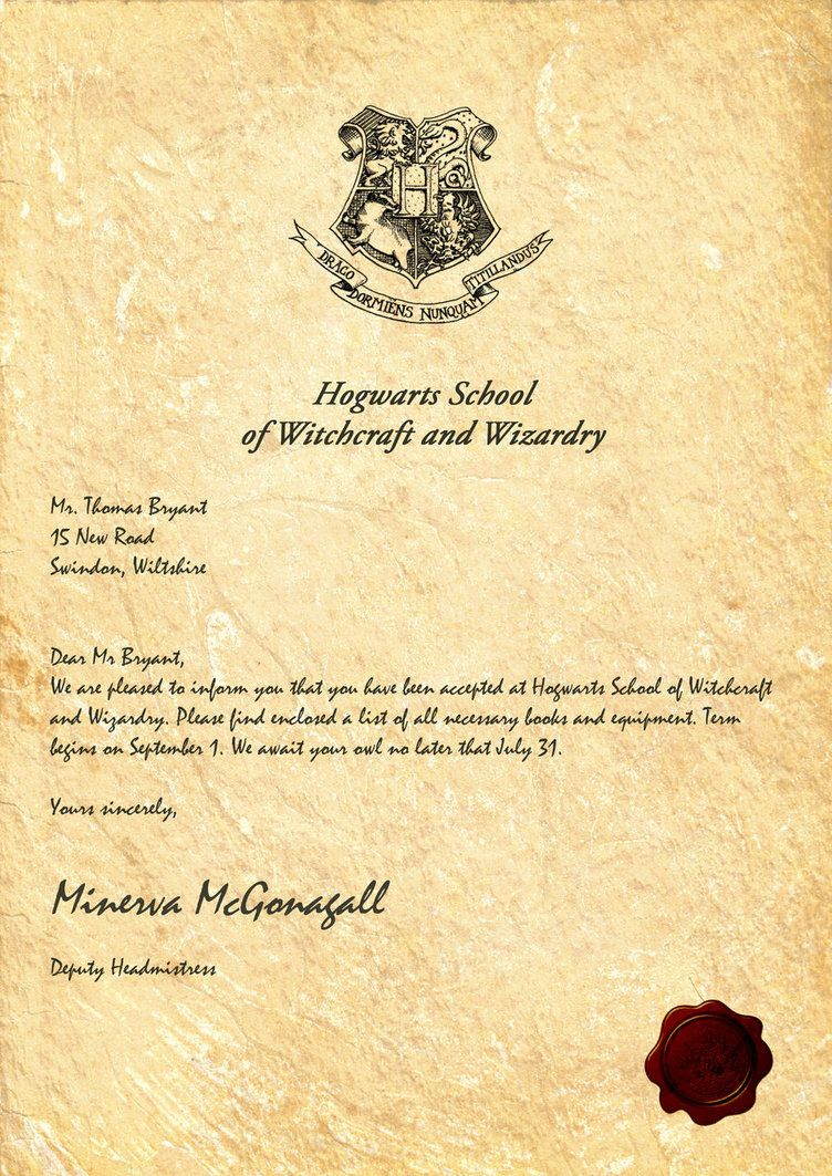 Irresistible image within harry potter acceptance letter printable
