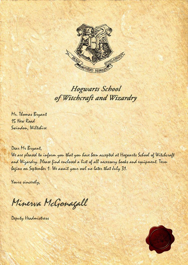 Hogwarts Acceptance Letter Harry potter letter, Harry