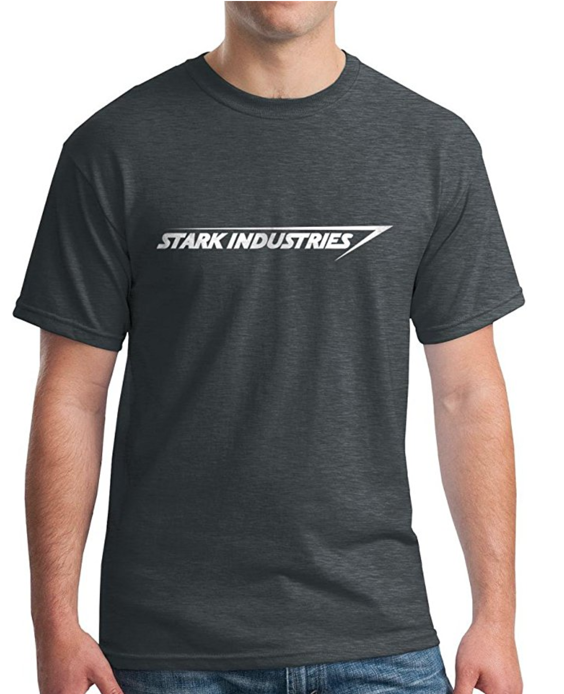 Dark Grey TShirt with Stark Industries Logo Model