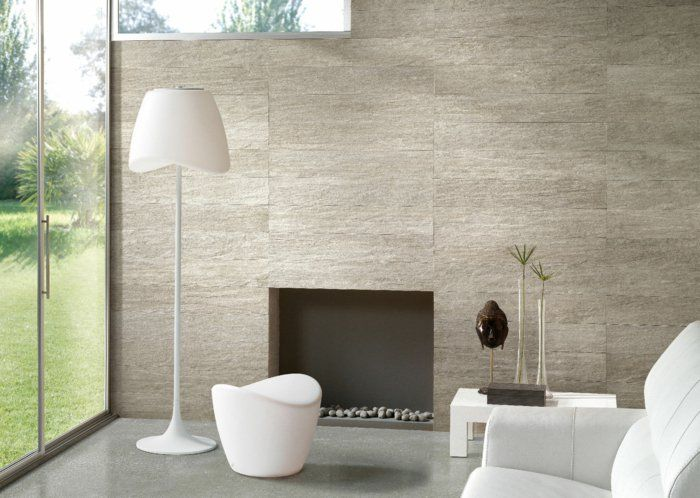 Wohnideen Wohnzimmer Moderne Feuerstelle Weiße Möbelstücke Accessoires