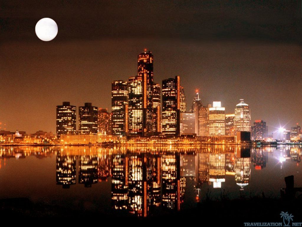 Detroit City At Night World Images Hd Backgrounds Wallpaper