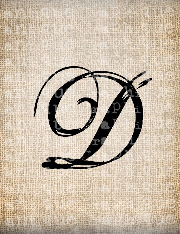 antique letter d script monogram digital by. Black Bedroom Furniture Sets. Home Design Ideas