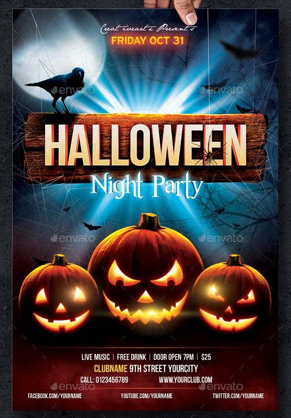 Halloween Flyer Template Party Fully Layered PSD Editable 4x6 25 Bleed 300dpi CMYK Print Ready