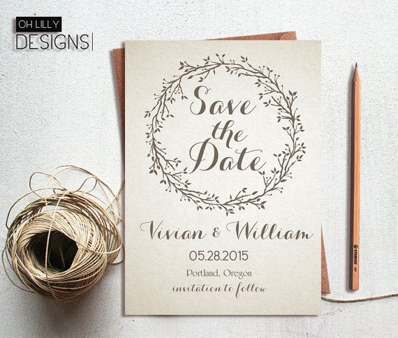 rustic save the date printable save the date invitation vintage