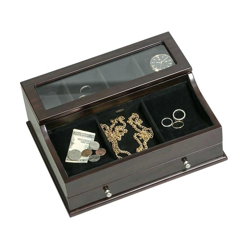 Men Jewlery Box Glass Top Wooden Dresser Top Valet Jewelry Box Wooden Dresser Architecture House Jewelry Organization