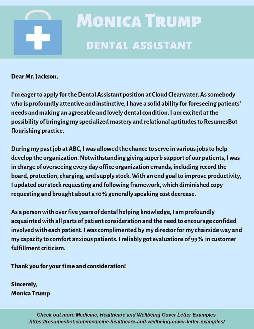 dental assistant cover letter samples  u0026 templates  pdf