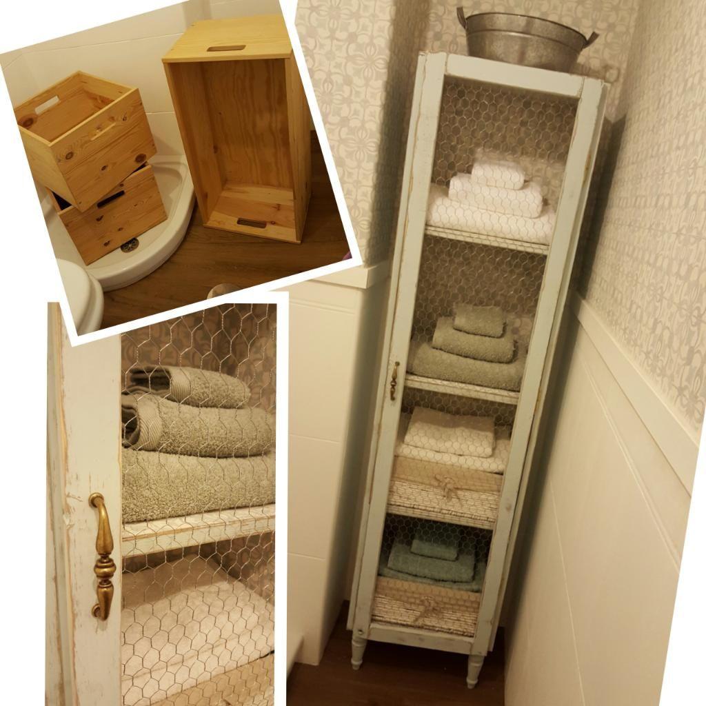 Recicla cajas de madera y crea un armario para el ba o - Armario para el bano ...