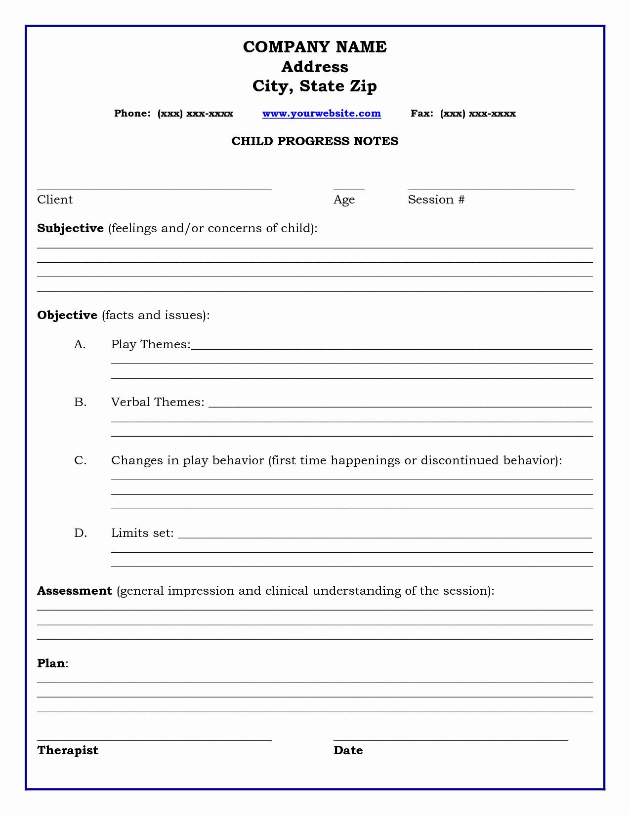Client Notes Template Beautiful Therapy Progress Note