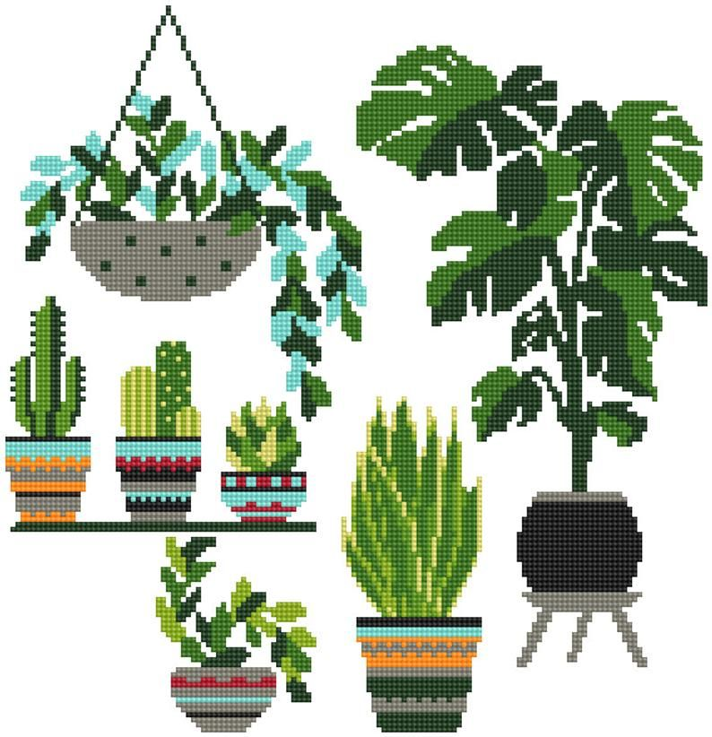 Photo of Modern cross stitch pattern Potted Flowers Cactus cross stitch Easy cross stitch chart Succulents Beginner needlecraft pattern PDF Download