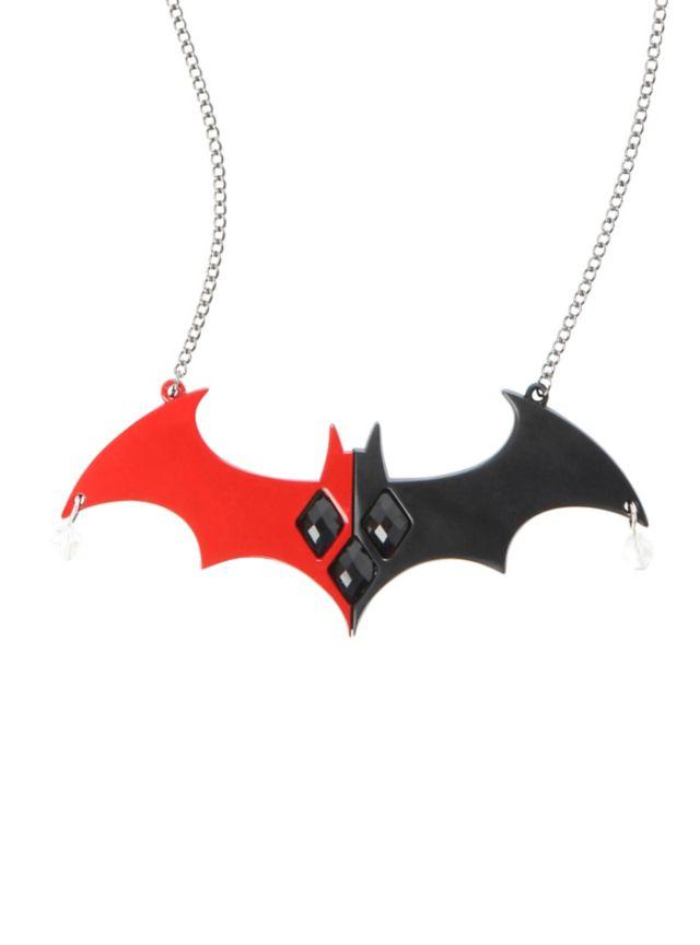 Hematite tone chain necklace with metal Harley Quinn Batman logo statement piece.
