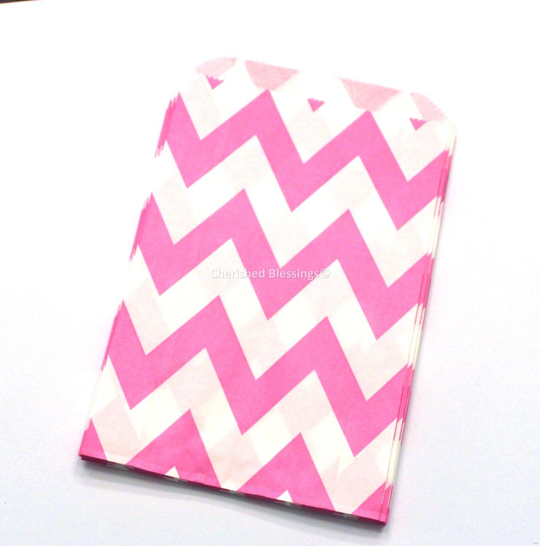 Chevron Paper Favor Bags, Chevron Favor Bags, Hot Pink Favor Bags ...