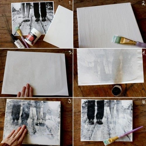you need stretched canvas gel medium a paint brush and the image