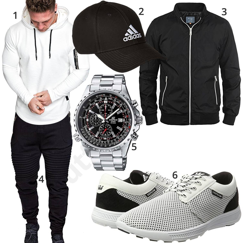 Schwarz Weißer Street Style mit Pullover und Hoodie | Mens