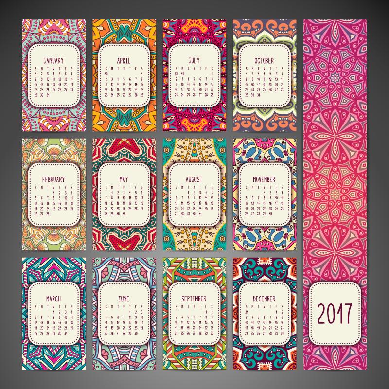 calendario con mandalas y en vectores