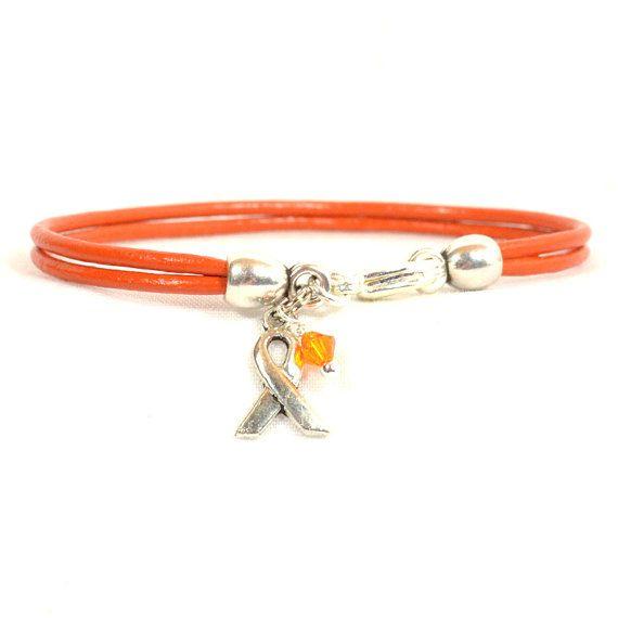 Adhd Awareness Bracelet Orange Double Strand 2mm Round