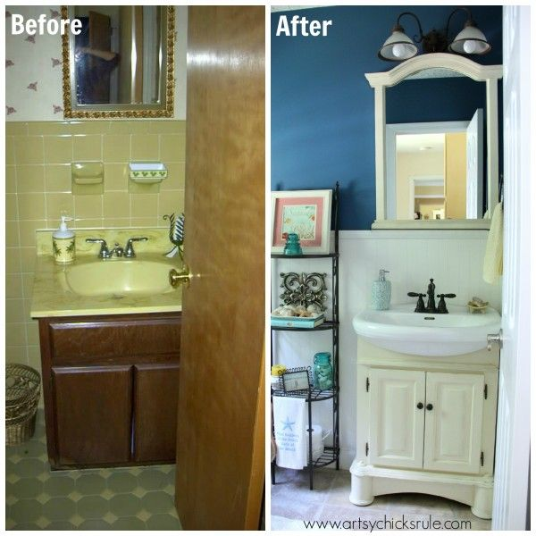 Low Budget Bathroom Makeovers: Guest Bath Makeover On A Budget {Before & After