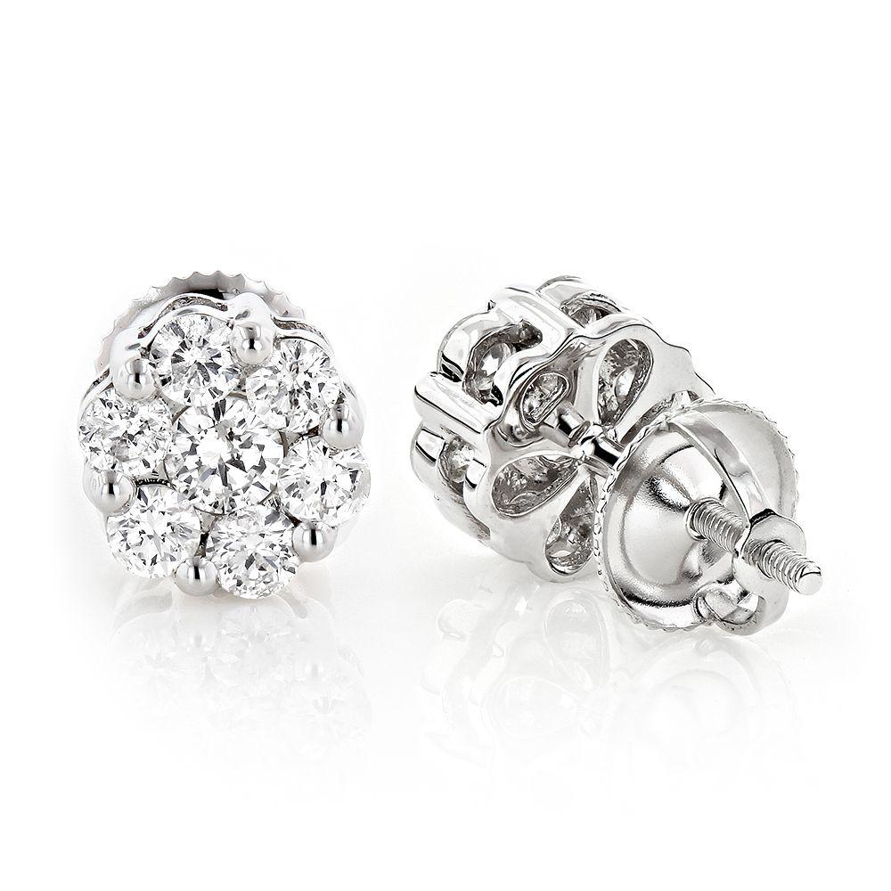 Diamond Earrings Cluster Stud Style 1/2ct 14K Gold | Diamond, Gold ...