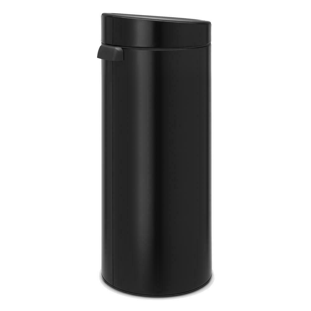 Brabantia Touch Bin Trash Can Wastebasket Dustbin In Matt Black 30 L 115301 8710755115301 Ebay Brabantia Trash Can Kitchen Trash Cans