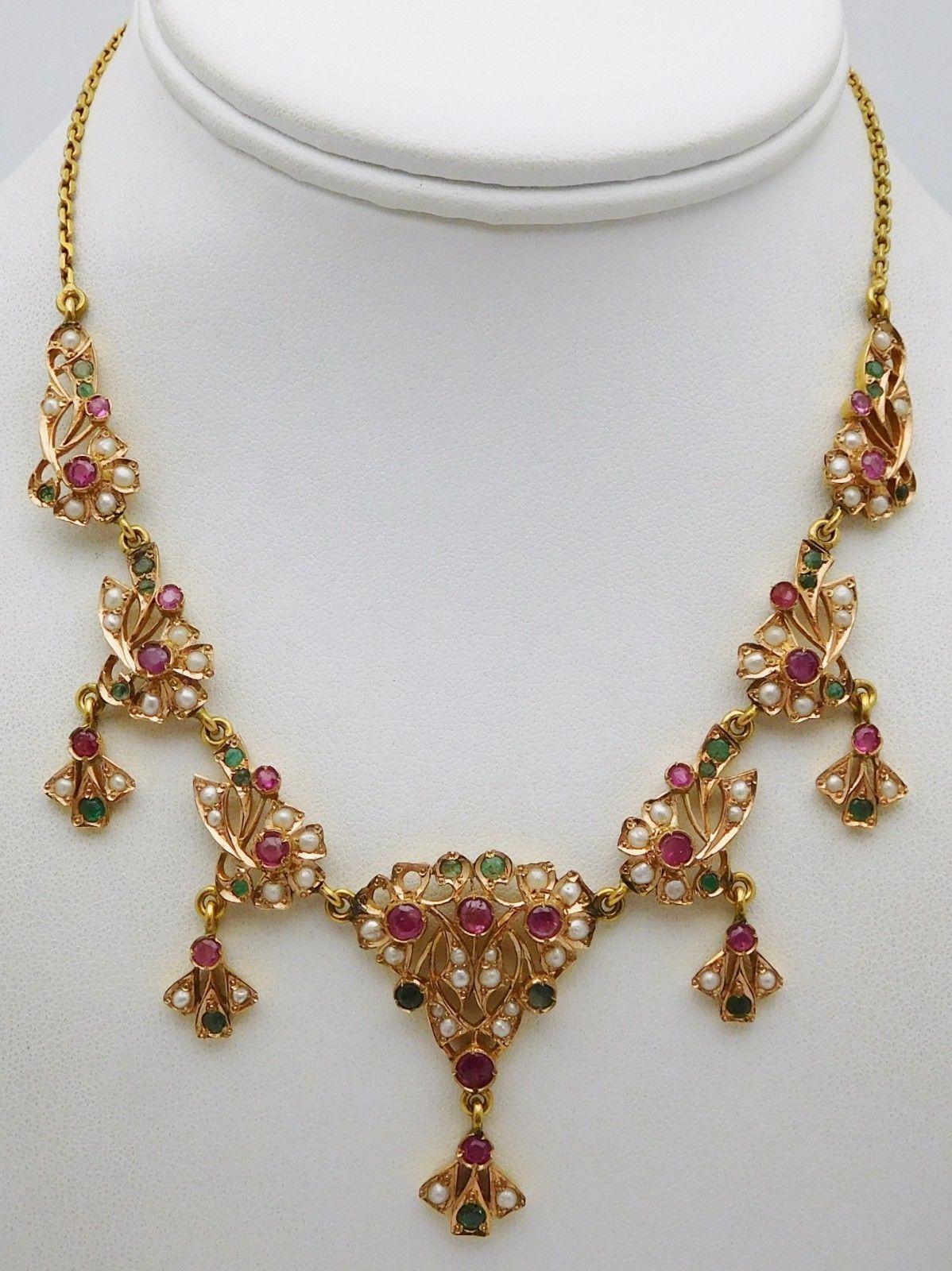 ac56cca4b1b1a6 AMAZING Solid 14k Yellow Gold / Ruby / Pearls / Emeralds Ladies Festoon  Necklace | eBay