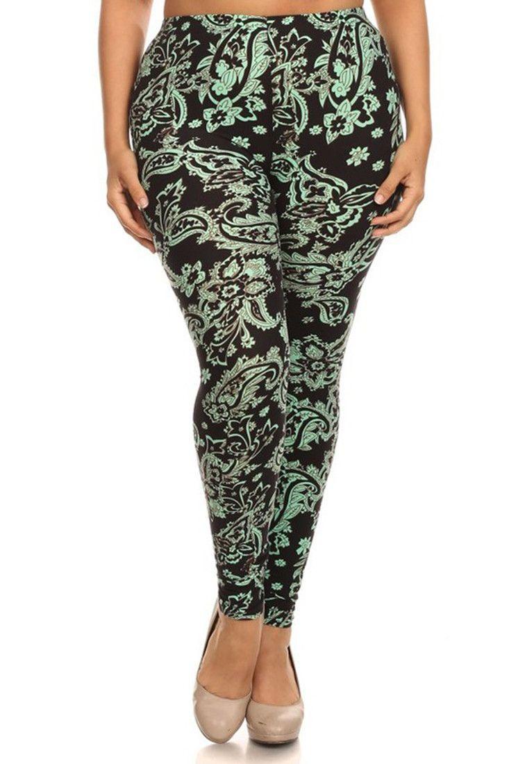 mint baroque me design plus size leggings   products   pinterest