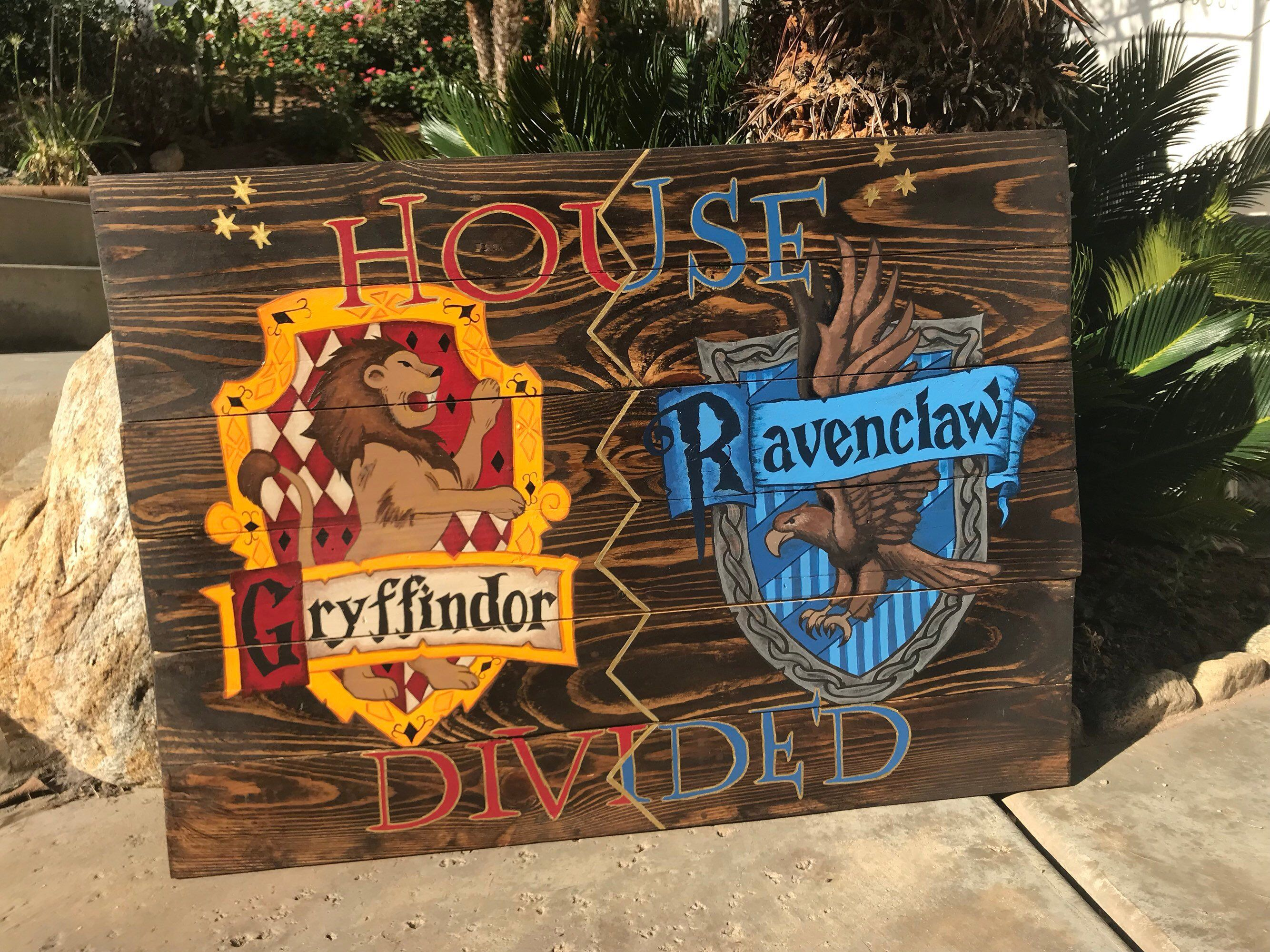 Excited To Share This Item From My Etsy Shop Custom Hogwarts House Divided Sign Gryffindor Ravenclaw Slytherin House Painted Signs Hand Painted Signs