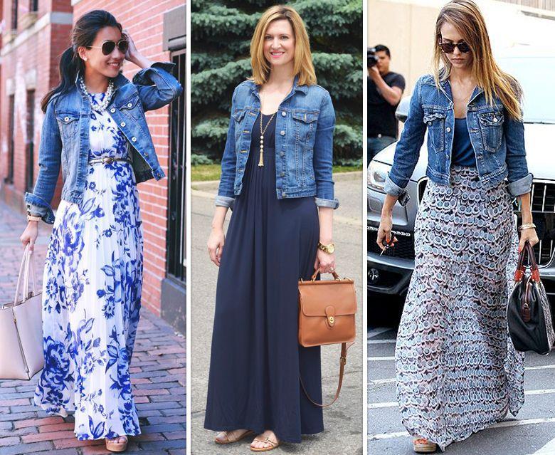 Vestidos longos com jaqueta jeans