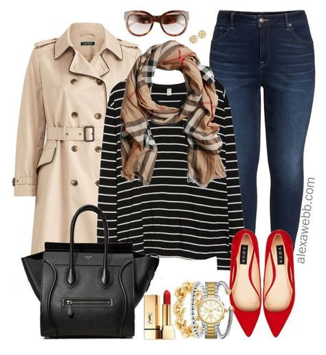 Plus Size Outfits with Red Flats