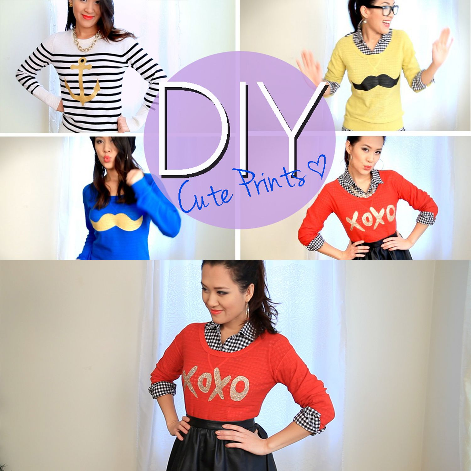 Make A Cute Mustache and Printed Sweater or T-Shirt Tutorial – Ann Le Style e383ef034