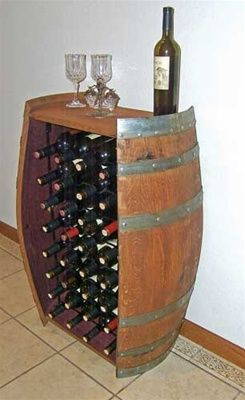 32 Bottle Wine Barrel Rack California Vines