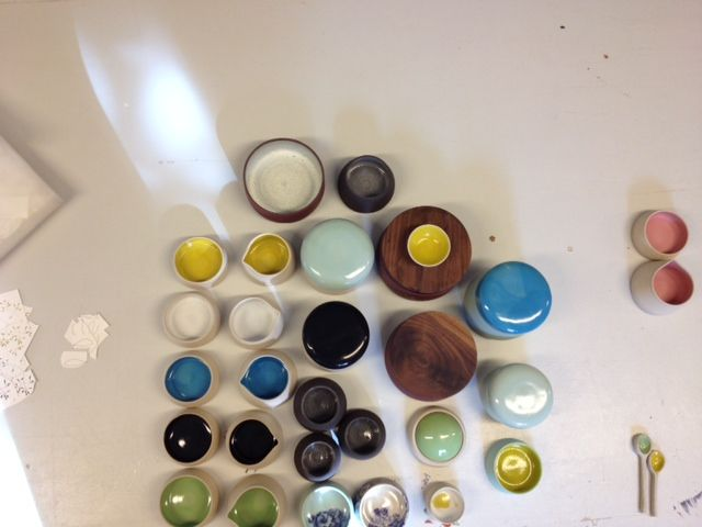 Jugs, bowls and lidded containers by my talented assistant Sara of Terttulla Ceramics.