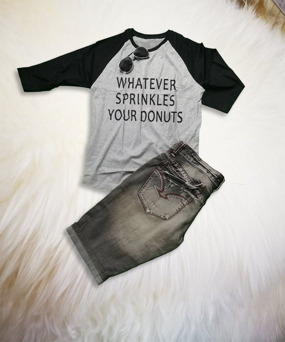 12006833 Funny Donut Shirt Raglan Tee Shirt Whatever Shirt Three Quarter Sleeve Shirt  Unisex Graphic Tee Chri
