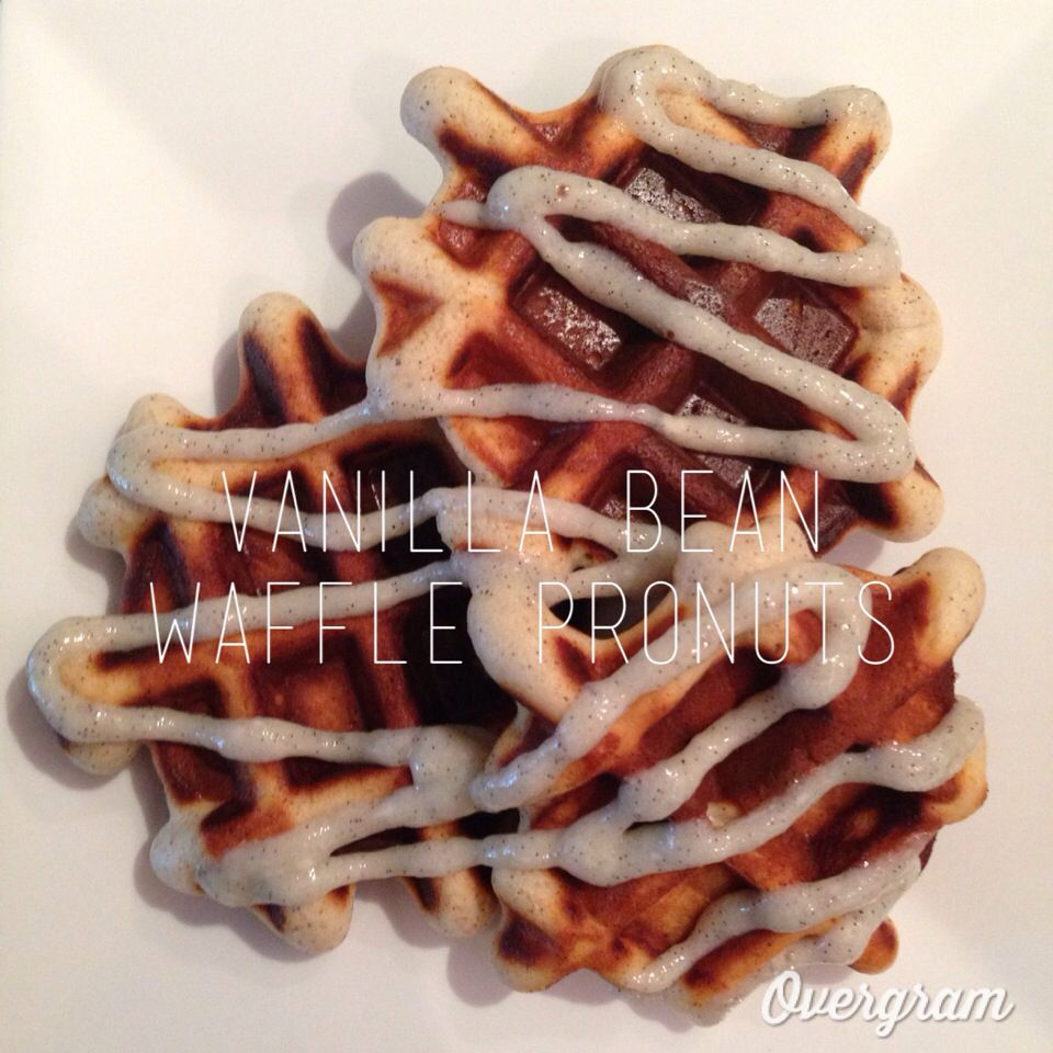 Vanilla Bean and Protein Waffle Donuts! 142 calories, 6 g fat, 14 g carbs, 6 g sugar, 8 g protein. Clean ingredients, guilt free!